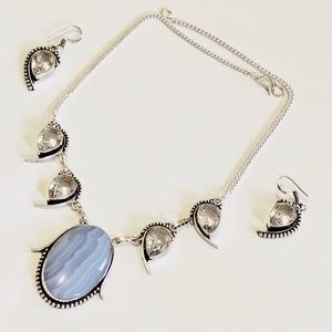 Jewelry - BRAND NEW BLUE LACE AGATE AND WHITE TOPAZ NECLACE